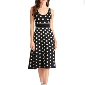 Rachel Roy Womens Black Polka Dot Sleeveless Dress